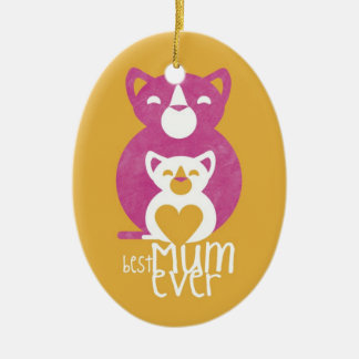 Pink cat mom christmas ornament