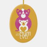 Pink cat mum ceramic oval decoration