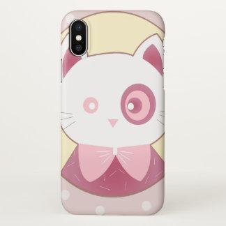 Pink Cat Portrait Doubt iPhone X Case