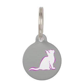 Pink cat, white fill pet ID tag