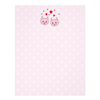 Pink cats with love hearts. full color flyer