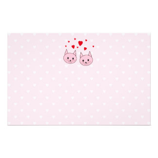 Pink cats with love hearts flyer design