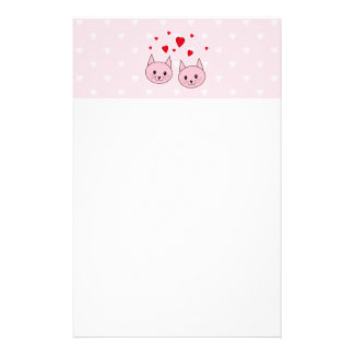 Pink cats with love hearts. stationery