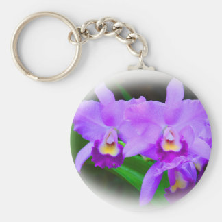 Pink Cattleya Orchids Basic Round Button Key Ring
