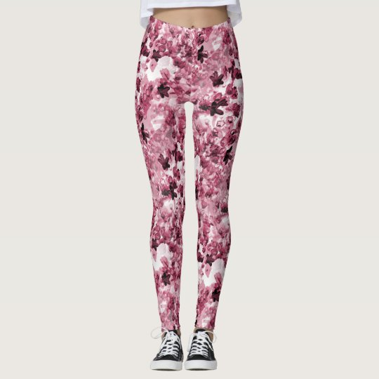 Pink Ceanothus Flower Patterned Leggings