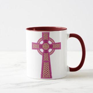Pink Celtic Cross Glass Mug
