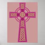 Pink Celtic Cross Poster