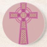 Pink Celtic Cross Sandstone Coaster