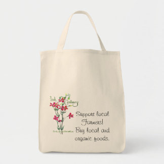 Pink Centaury Lily Botanical Tote Bags