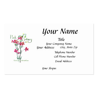 Pink Centaury Lily Botanical Business Card