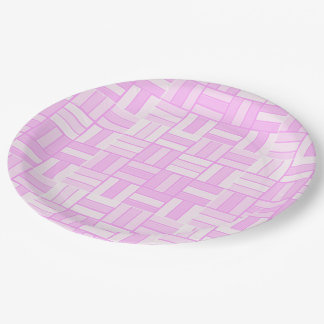 Pink ceramic-look tiled pattern 9 inch paper plate