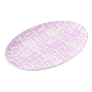Pink ceramic-look tiled pattern porcelain serving platter
