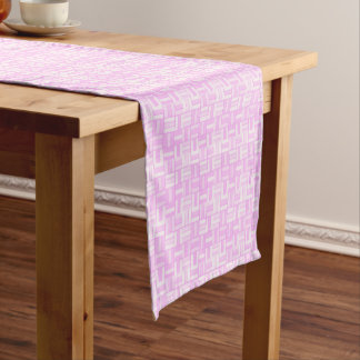 Pink ceramic-look tiled pattern short table runner