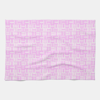Pink ceramic-look tiled pattern tea towel
