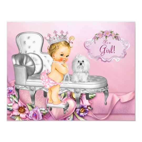 Pink Chair Blonde Princess Pearl Baby Shower Card