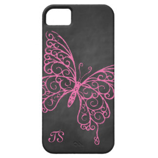 Pink Chalkboard Butterfly iPhone 5 Case-Mate ID