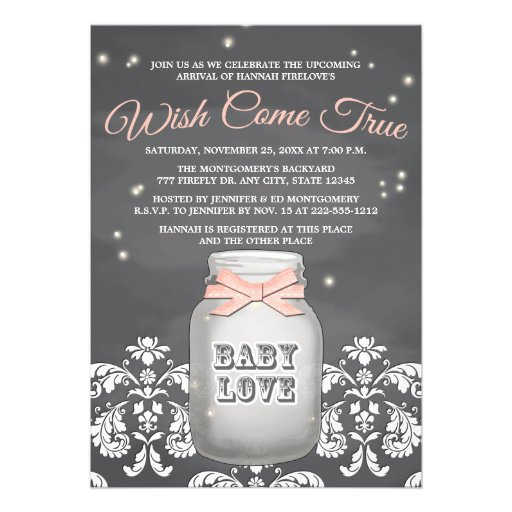 Pink Chalkboard Firefly Mason Jar Baby Shower Custom Announcements