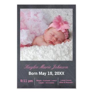 Pink Chalkboard Photo - 3x5 Birth Announcement