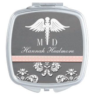 Pink Chalkboard Physician Doctor MD Caduceus Mirror For Makeup