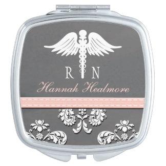 Pink Chalkboard Registered Nurse RN Caduceus Compact Mirror