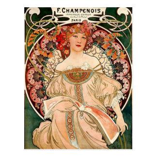 pink champagne - Art Nouveau Postcard