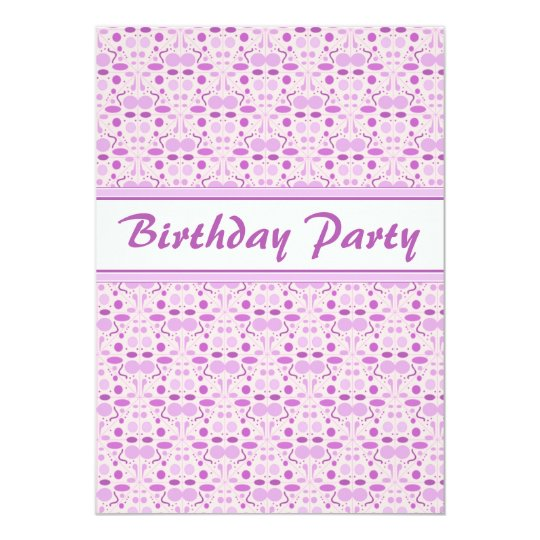 Pink Champagne Birthday Polka Dot Party Card