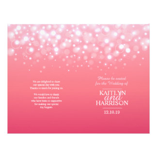 Pink champagne bubble wedding programme 21.5 cm x 28 cm flyer