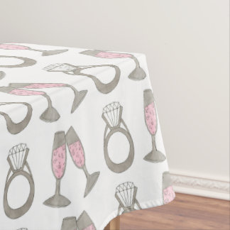 Pink Champagne Diamond Ring Wedding Tablecloth