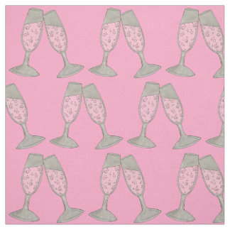 Pink Champagne Glass Wedding Bridal Shower Fabric