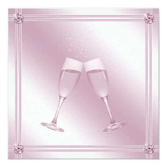 Pink Champagne Glasses & Diamonds Engagement Party Card