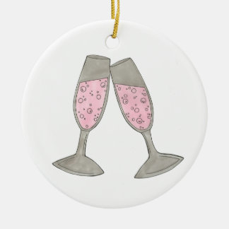 Pink Champagne Personalized Wedding Ornament