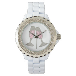 Pink Champagne Toast Cheers Wedding Bride Watch