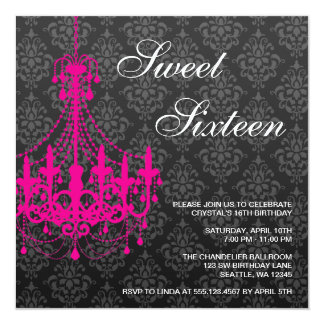 Pink Chandelier Black Damask Sweet 16 Birthday 13 Cm X 13 Cm Square Invitation Card