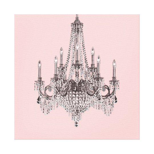 Pink Chandelier Canvas Wall Art, Pink Chandelier Wall Art