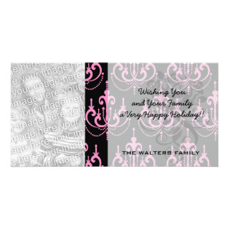 pink chandelier damask on black personalized photo card