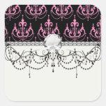 pink chandelier damask on black square stickers