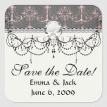 pink chandelier damask on deep grey square stickers