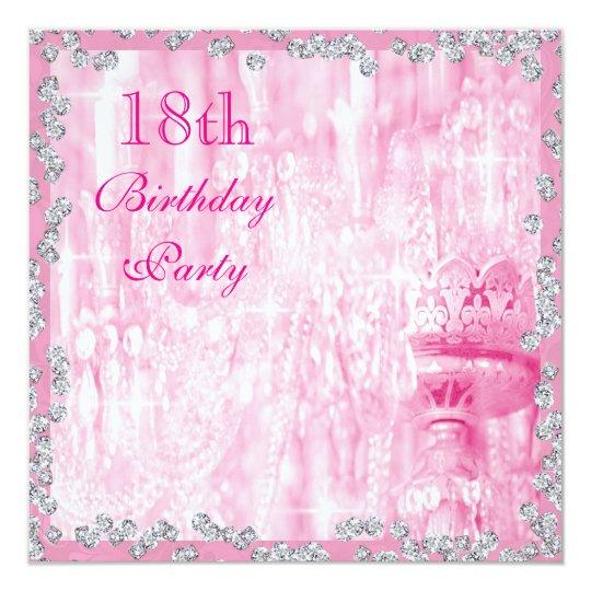 Pink Chandelier & Diamonds 18th Birthday Card
