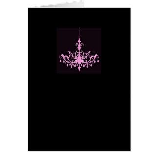 Pink Chandelier on Black Card