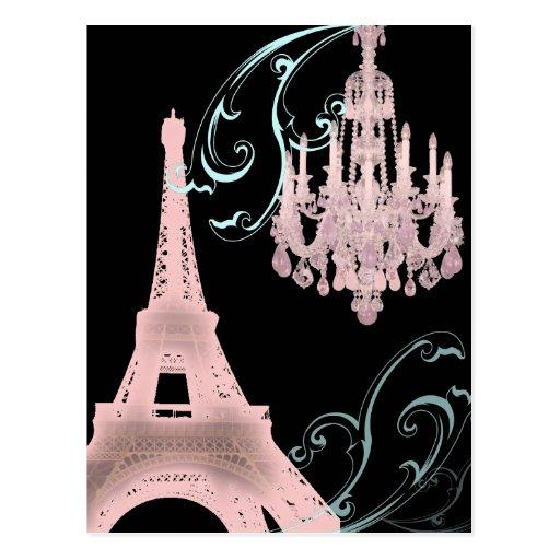 Pink Chandelier Paris Wedding SaveTheDate Postcard