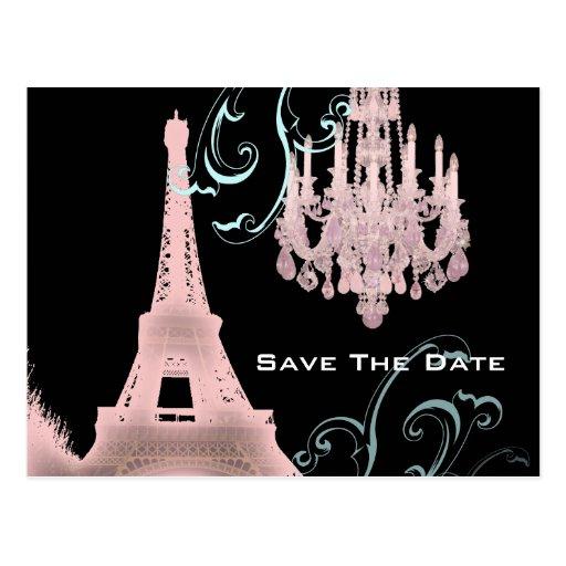 Pink Chandelier Paris Wedding SaveTheDate Postcards