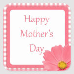 Pink Check Floral Mothers Day Sticker
