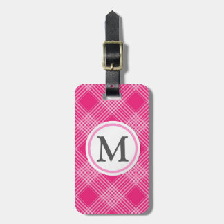 Pink Checked Tags For Luggage