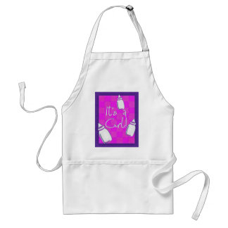 Pink Checkerboard Birth Announcement Aprons