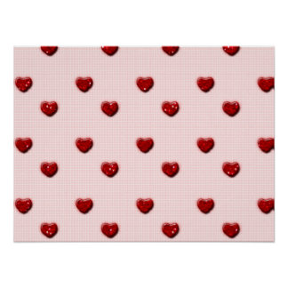 Pink Checkerboard Red Glitter Hearts Posters