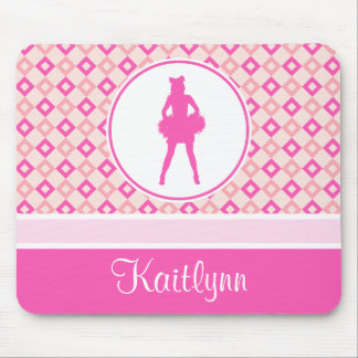 Pink Checkered Diamonds Cheer or Pom w/ Monogram Mouse Pad