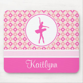 Pink Checkered Diamonds Dance with Monogram Mouse Pad