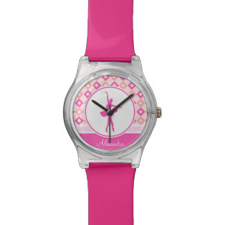 Pink Checkered Diamonds Dance with Monogram Wristwatch