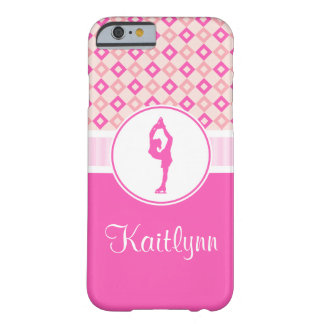 Pink Checkered Diamonds Figure Skater w/ Monogram Barely There iPhone 6 Case