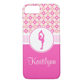 Pink Checkered Diamonds Figure Skater w/ Monogram iPhone 7 Case